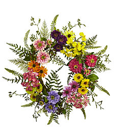 Nearly Natural Mixed Flower Wreath
