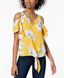 BCX Juniors' Printed Cutout Hardware-Detail Top