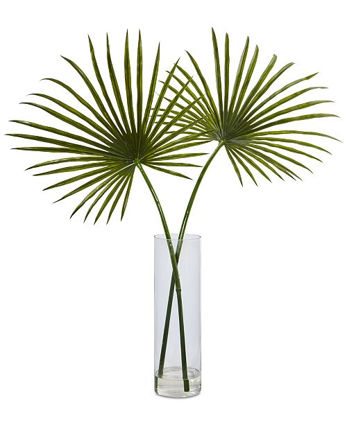 Nearly Natural Fan Palm Artificial Arrangement in Glass Vase