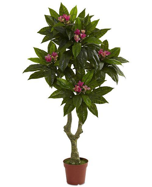 Nearly Natural 5' Artificial Plumeria UV-Resistant Indoor/Outdoor Tree