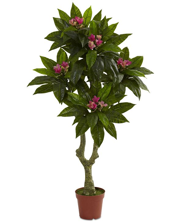 Nearly Natural 5' Artificial Plumeria UV-Resistant Indoor/Outdoor Tree