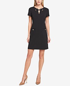 Scuba Crepe Grommet Top Pocket Dress