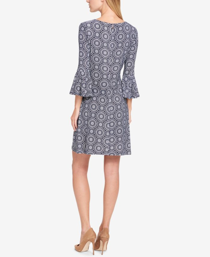 Tommy Hilfiger Petite Printed Bell-Sleeve Dress & Reviews - Dresses - Petites - Macy's