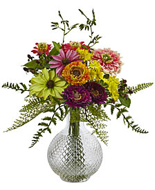 Nearly Natural Mixed Flower in Glass Vase