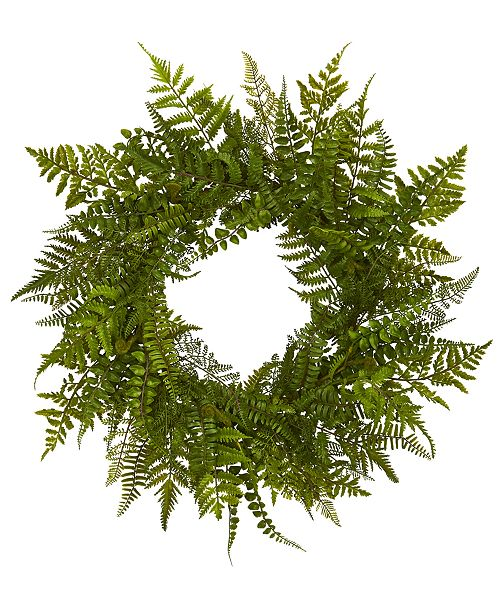 Nearly Natural 24'' Mixed Fern Artificial Wreath
