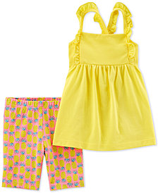 Carter's Toddler Girls 2-Pc. Ruffled Tank Top & Pineapple-Print Shorts Set
