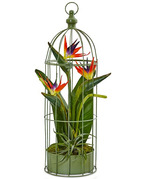 Nearly Natural Tropical Birds of Paradise Artificial Arrangement in Decorative Bird Cage