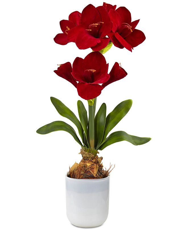 Nearly Natural Red Amaryllis Artificial Floral Arrangement
