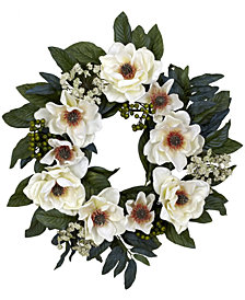 "Nearly Natural 22"" Artificial Magnolia Wreath"