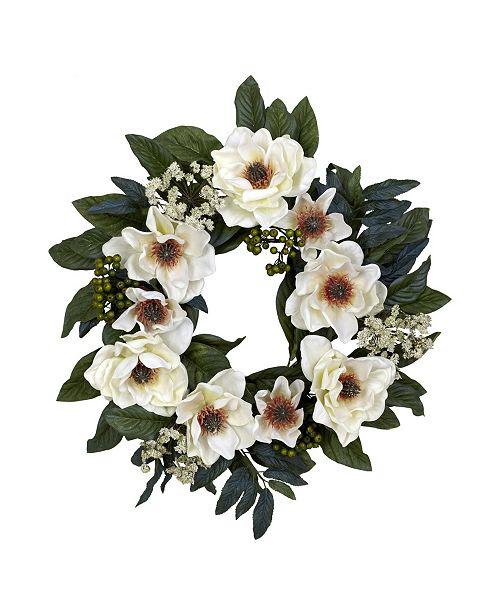 "Nearly Natural 22"" Artificial Magnolia Wreath"