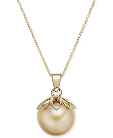 "Cultured Golden South Sea Pearl (10mm) 18"" Pendant Necklace in 14k Gold"