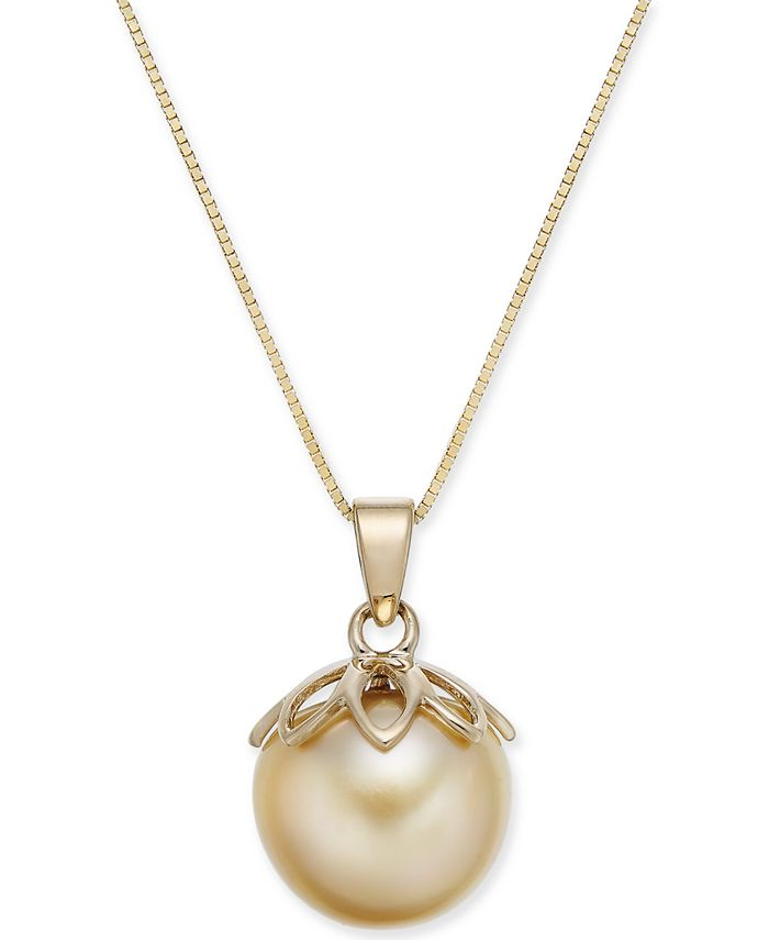 """Macy's - Cultured Golden South Sea Pearl (10mm) 18"""" Pendant Necklace in 14k Gold"""