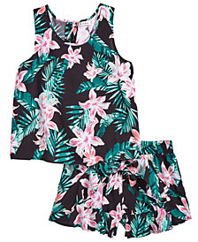 Love, Fire Big Girls 2-Pc. Floral-Print Tank Top & Shorts Set