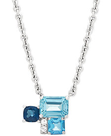 "Multi-Gemstone (3-1/4 ct. t.w.) & Diamond Accent 17"" Pendant Necklace in Sterling Silver"