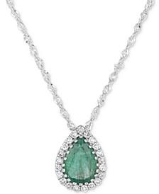 Emerald (5/8 ct. t.w.) & Diamond Accent Pendant Necklace in 14k White Gold