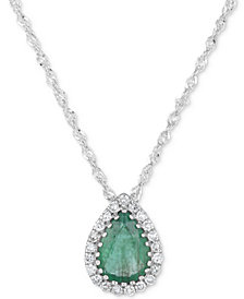 Sapphire (3/4 ct. t.w.) & Diamond Accent Pendant Necklace in 14k White Gold (Also available in Ruby & Emerald)