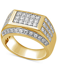 Men's Diamond Square Cluster Ring (1-1/2 ct. t.w.) in 10k Gold