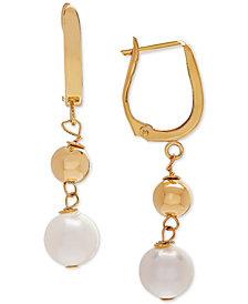 Cultured Freshwater Pearl (8mm) Drop Earrings in 14k Gold
