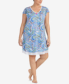 Ellen Tracy Plus Size Printed Chiffon-Hem Short Nightgown