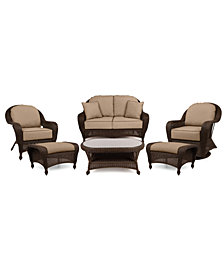 Monterey Outdoor Wicker 6-Pc. Seating Set (1 Loveseat, 2 Swivel Chairs, 2 Ottomans & 1 Coffee Table) with Custom Sunbrella®,  Created for Macy's