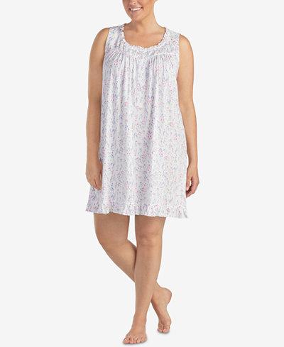 Eileen West Plus Size Ruffled-Trim Knit Chemise