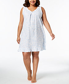 Miss Elaine Plus Size Lace-Trim Rose-Print Woven Nightgown