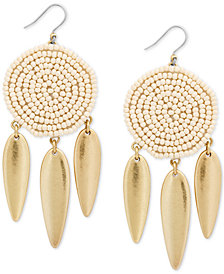 Lucky Brand Gold-Tone Beaded Drop Earrings