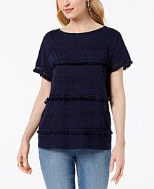 Style & Co Embellished Fringe-Trim T-Shirt, Created for Macy's