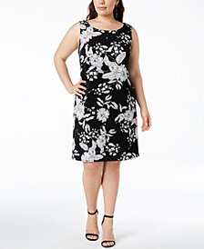 MSK Plus Size Printed Imitation-Pearl Shift Dress