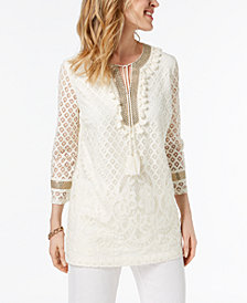 Charter Club Lace Gold-Tone Trim Top, Created for Macy's