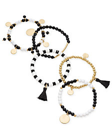 I.N.C. Gold-Tone 5-Pc. Set Bead, Tassel & Disc Stretch Bracelets, Created for Macy's