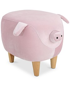 Ashley Velvet Pig Ottoman, Quick Ship