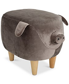 Hayden Velvet Pig Ottoman, Quick Ship