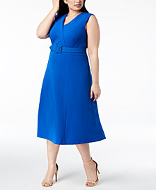 Calvin Klein Plus Size Belted Midi Dress