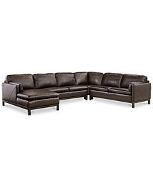 CLOSEOUT! Ventroso 4-Pc. Leather Chaise Sectional Sofa, Created for Macy's