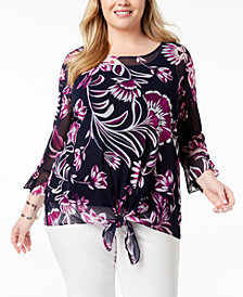 Alfani Plus Size Sheer Tie-Hem Tunic, Created for Macy's