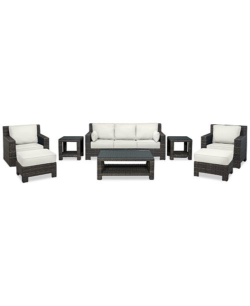 Furniture Viewport Outdoor Wicker 8-Pc. Seating Set (1 Sofa, 1 Club Chair, 1 Swivel Glider, 2 Ottomans, 1 Coffee Table & 2 End Tables) with Custom Sunbrella® Colors, Created for Macy's