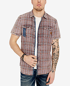Buffalo David Bitton Men's Raw Edge Plaid Shirt