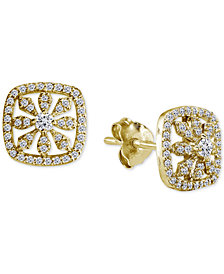 Giani Bernini Cubic Zirconia Pavé Square Stud Earrings in 18k Gold-Plated Sterling Silver, Created for Macy's