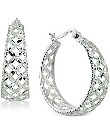 Giani Bernini Filigree Hoop Earrings in Sterling Silver, Created for Macy's