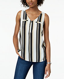 BCX Juniors' Striped Zip-Front Tank Top
