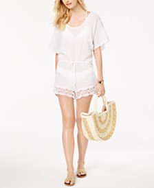 La Blanca Crochet-Trim Romper Cover-Up