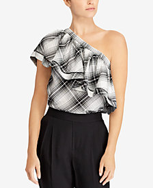 Lauren Ralph Lauren Ruffled One-Shoulder Cotton Top