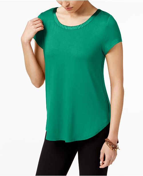 f60e206a Alfani Petite Satin-Trim High-Low T-Shirt, Created for Macy's - Tops ...
