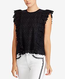 Lauren Ralph Lauren Eyelet Ruffled Cotton Top
