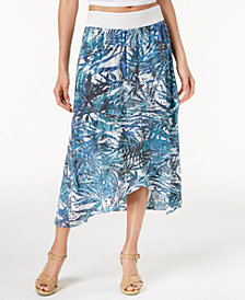 NY Collection Petite Printed Crochet-Waist A-Line Skirt