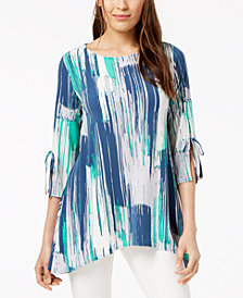 Alfani Printed Asymmetrical Tie-Sleeve Swing Top, Created for Macy's