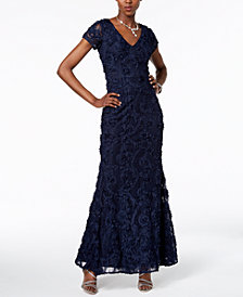 XSCAPE V-Neck Floral-Appliqué Gown
