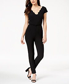 Adrianna Papell Belted Scalloped Jumpsuit