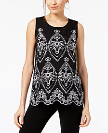 Alfani Petite Embroidered Sleeveless Top, Created for Macy's